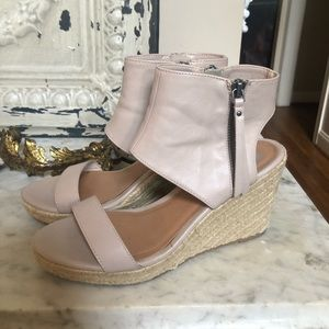 Dolce Vita Taupe Espadrille Zip Up Wedges